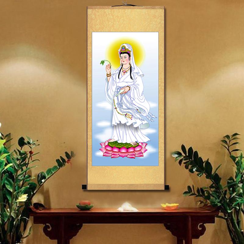 卷軸畫絲綢畫觀音畫觀世音菩薩佛像掛畫像保平安佛堂供奉掛畫