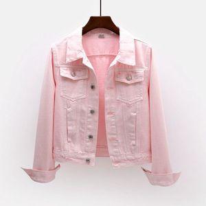 牛仔外套女短款2019春秋新款韩版修身长袖夹克百搭学生上衣粉白色图片