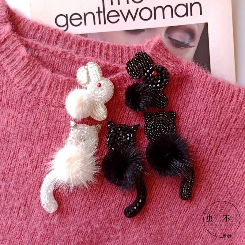 原创冬季毛毛兔子胸针卫衣大衣毛衣百搭装饰胸花别针韩国奢华大气