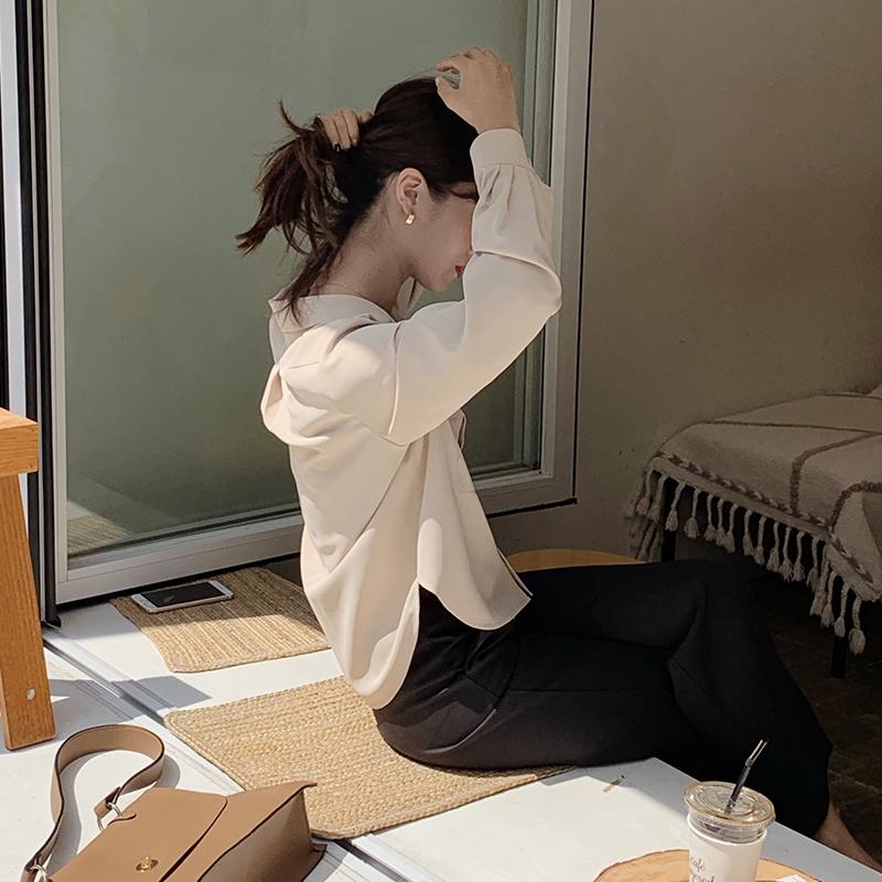 荷静gogo酷酷女孩秋日里工装风の单排短款杏色衬衫~