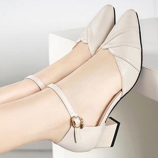 堤娜百丽真皮女鞋2020新款包头凉鞋女夏中跟粗跟旗袍礼服时装凉鞋