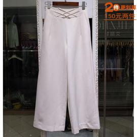 清货专柜品牌艾尔丽斯夏装 韩版直筒高腰白色阔腿长裤女装3020图片