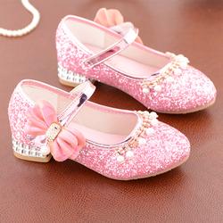 儿童公主鞋韩版2020新款蝴蝶结女孩子单鞋高跟软底鞋洋气女童皮鞋