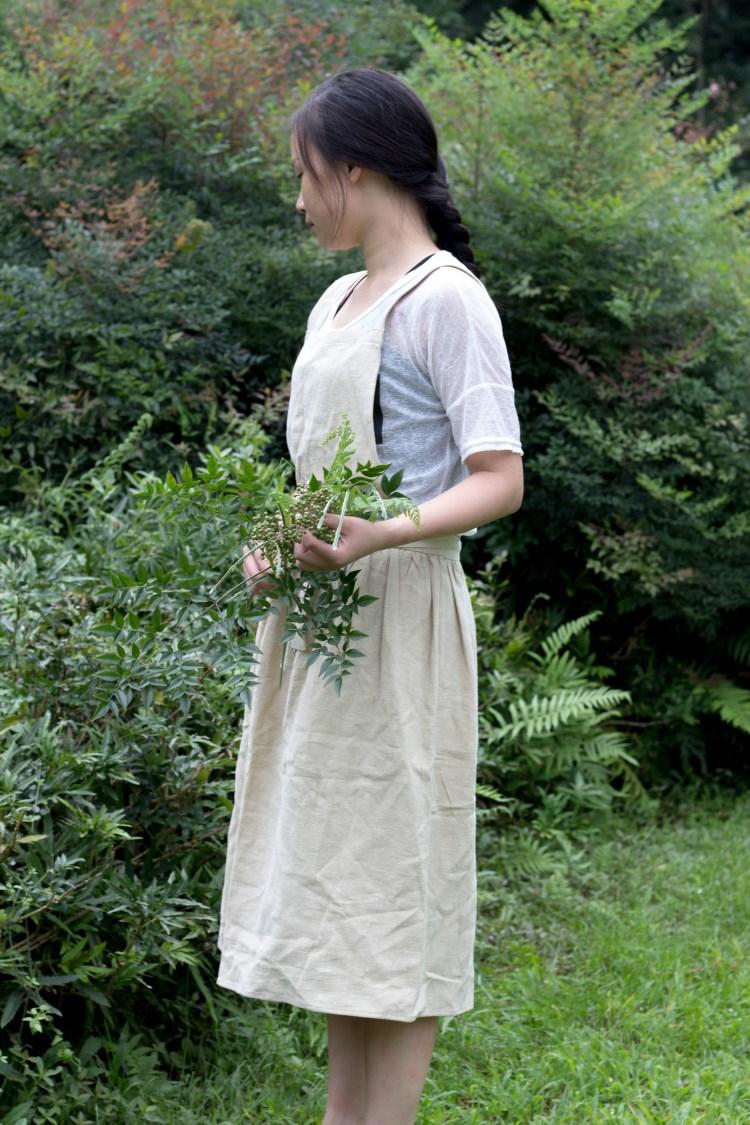 日式花艺园艺刺绣画室手工工作室复古水洗素棉麻围裙