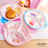 卡通三格盘密胺餐盘分格儿童餐具早餐盘子分隔西餐盘水果牛排托盘
