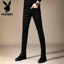Playboy jeans, pure black, slim feet, trend pants, Korean flagship 2019 fall new s