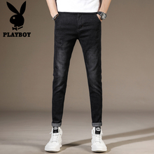 Playboy autumn black jeans long pants men's elastic slim little feet casual pants trend flagship s