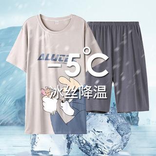 莫代尔睡衣男夏季短袖学生可爱卡通冰丝薄款男士春夏天家居服套装