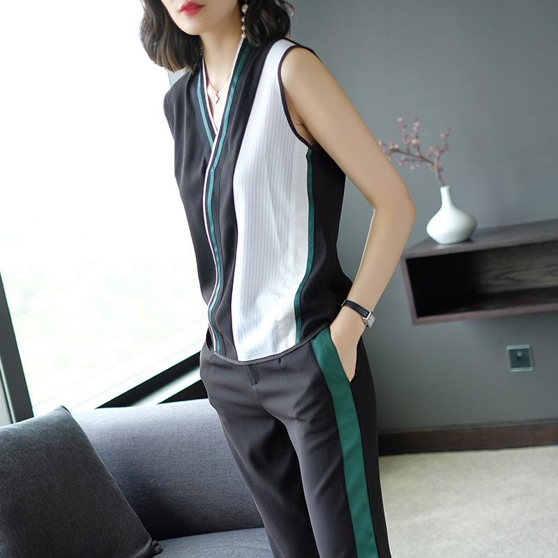 妃之影时尚休闲裤套装女2018夏季新款性感V领无袖上衣百搭两件套