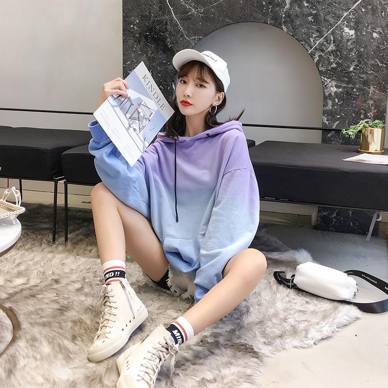 中长款连帽卫衣潮女韩版秋装学生百搭新款外套2018春秋季长袖上衣