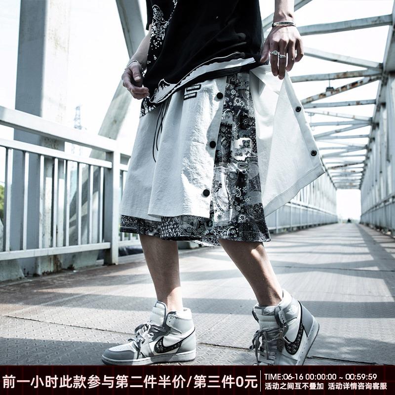 夏季腰果花排扣裤子男薄宽松大码潮流国潮牌篮球运动五分工装短裤