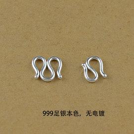 999足銀連接頭項鏈m扣手鏈S扣珍珠飾品diy純銀配件手工創意高品質圖片