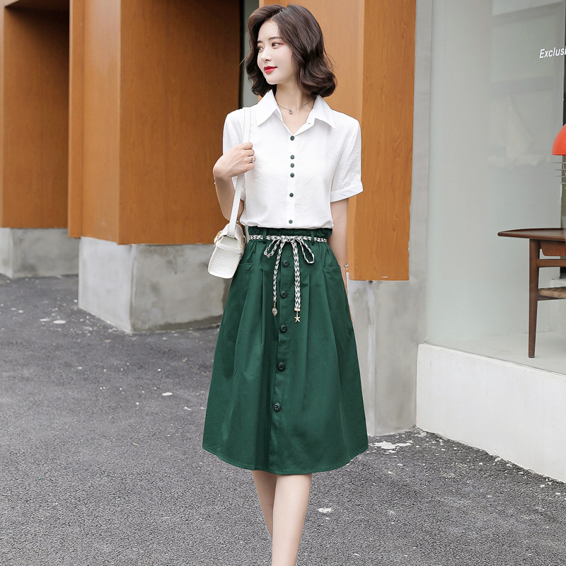 Fashion suit 2021 summer new Korean slim Lapel shirt lace up medium and long skirt two piece set yr9075