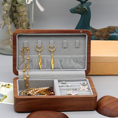 黑胡桃首饰收纳盒网红便携项链戒指耳环实木盒子手饰品珠宝首饰盒