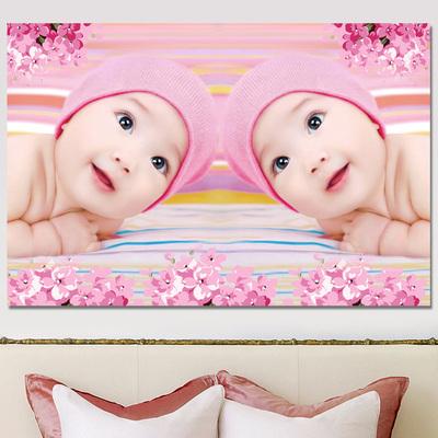 婴儿海报墙贴备孕高清宝宝画孕妇娃娃图片胎教龙凤宝宝照片萌36寸