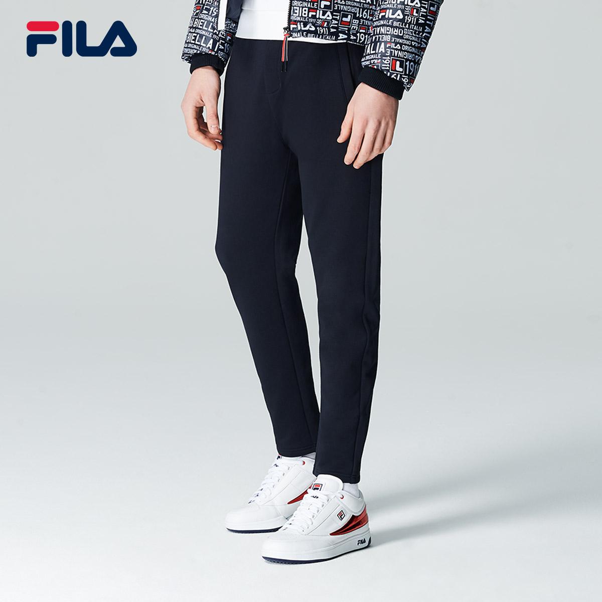 FILA斐乐长裤男2018冬季新款时尚运动休闲简约舒适针织长裤男