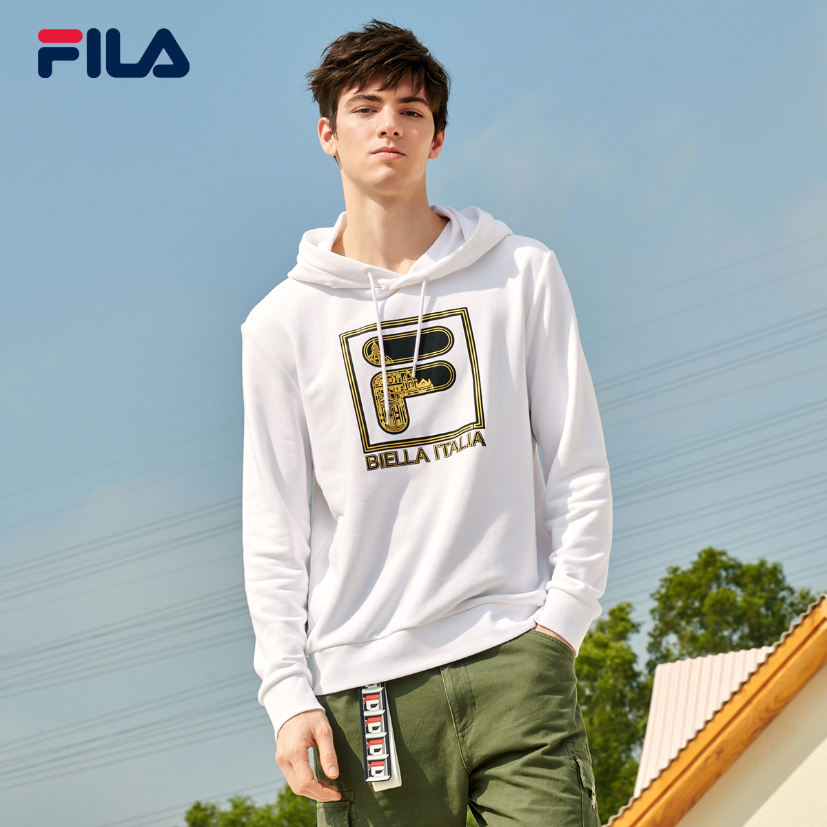FILA Feile official Huang Jingyu same men's sweater 2020 spring new fashion hooded men's sweater
