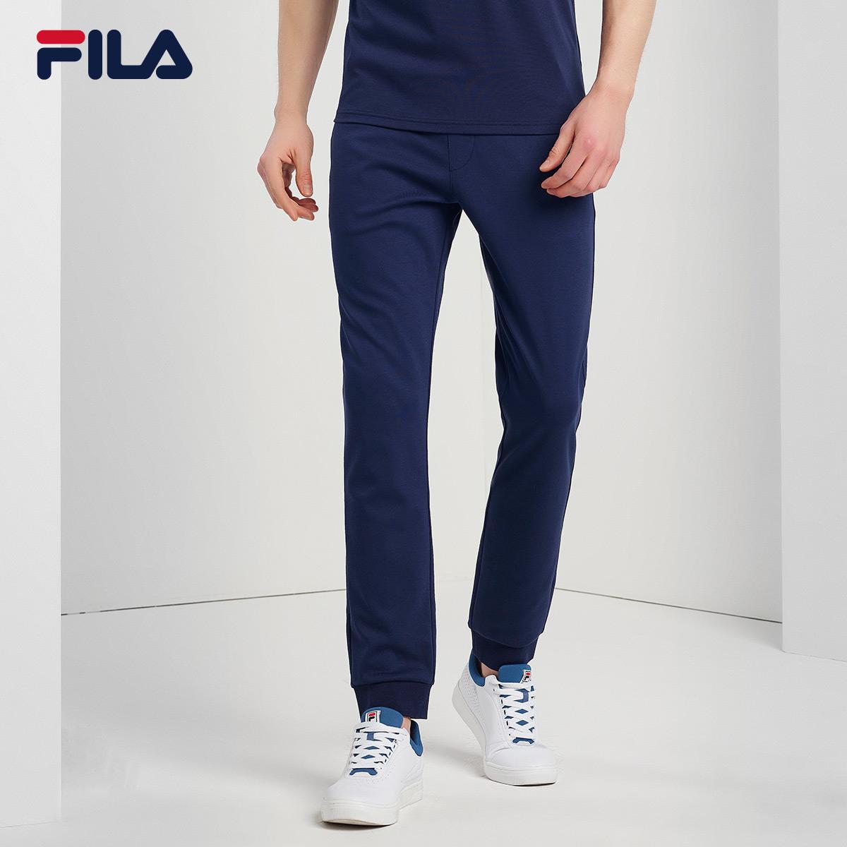 FILA斐乐长裤男裤2018夏季运动长裤针织透气运动裤简约束口裤男裤