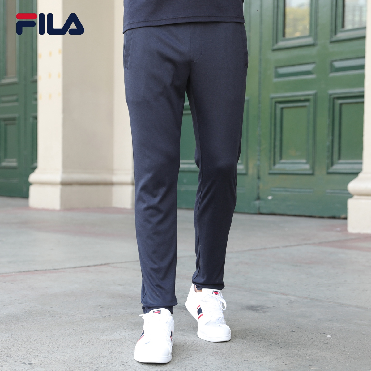 FILA斐乐长裤男直筒裤2018夏季商务吸湿透气针织运动休闲长裤男裤
