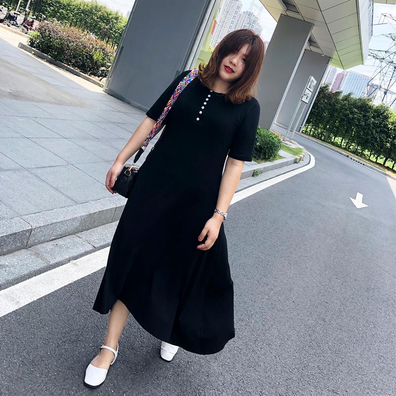 200斤胖mm显瘦遮肚连衣裙2018夏装新款大码女装气质韩版OL中长裙