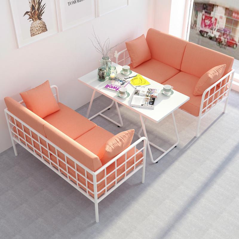 北欧卡座沙发奶茶店小沙发网红款简约现代店铺服装店小沙发双人