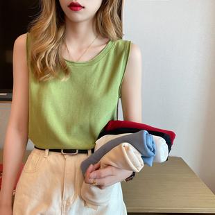 牛油果绿吊带背心女夏外穿冰丝针织无袖t恤内搭宽松棉麻打底上衣