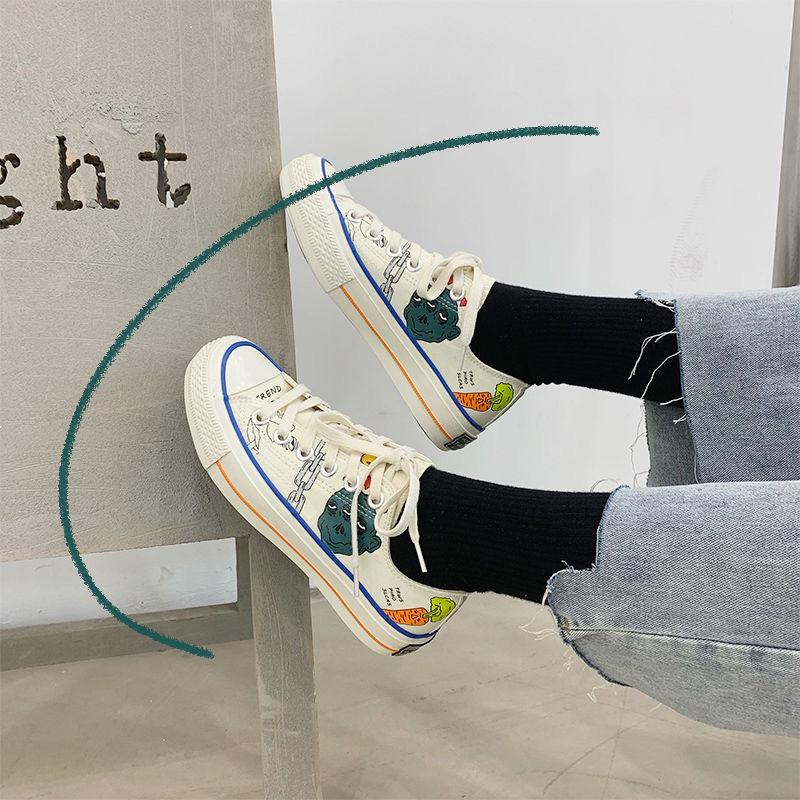 新款帆布鞋2020i网红ns街拍小白鞋情侣板鞋学生百搭休闲鞋复古