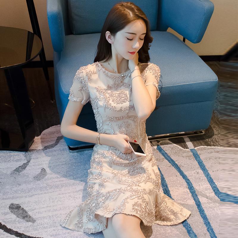 蕾丝连衣裙夏季气质超仙2019新款女装改良旗袍中国风正式场合裙子