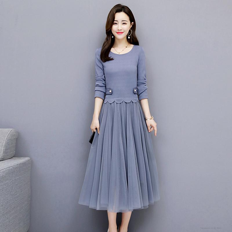 11-07新券2019新款秋装中长款chic温柔连衣裙