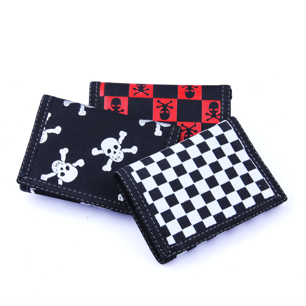 2019 new 30% discount mens and womens general punk wallet skull head magic sticker zero money bag motorcycle type mens canvas
