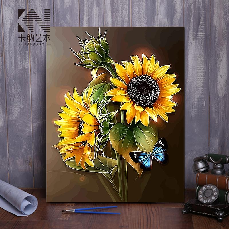 diy数字油画 客厅花卉手工自己填色油彩数码手绘装饰画 向日葵图片
