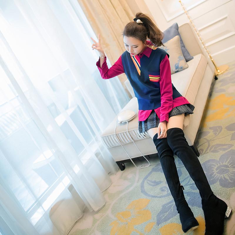 甜美网红学院风套装裙女装秋冬2018新款衬衫毛呢百褶裙时尚三件套