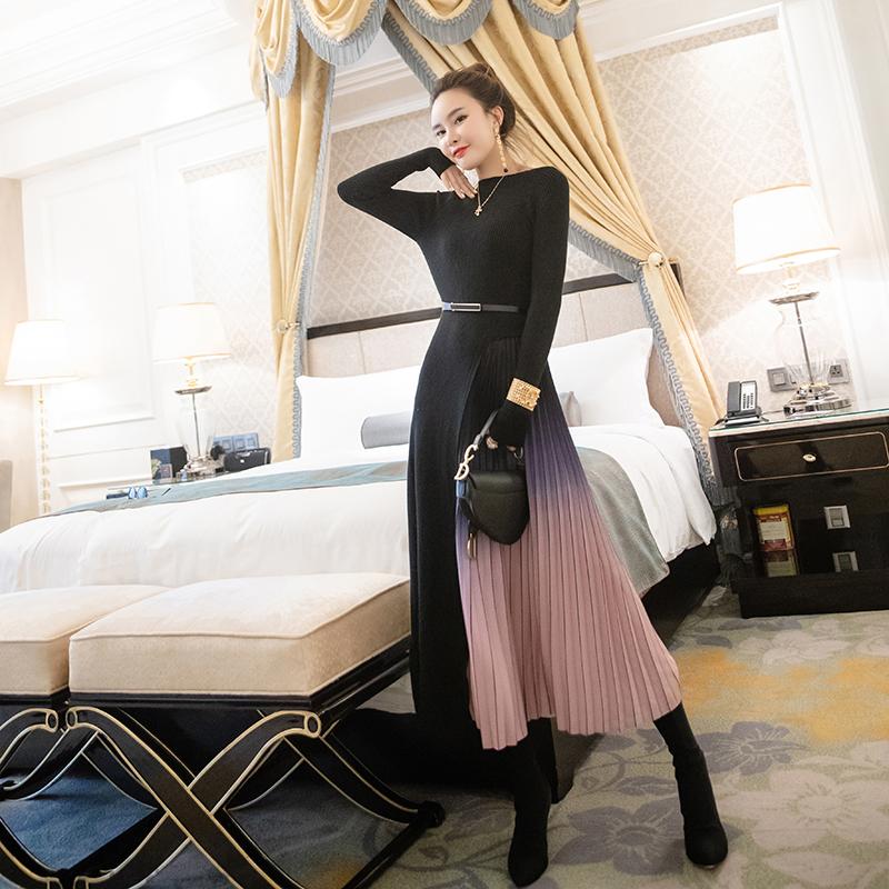 淑女女装高腰名媛秋装2019年新款黑色长袖针织假两件连衣裙中长款满425.00元可用127.5元优惠券