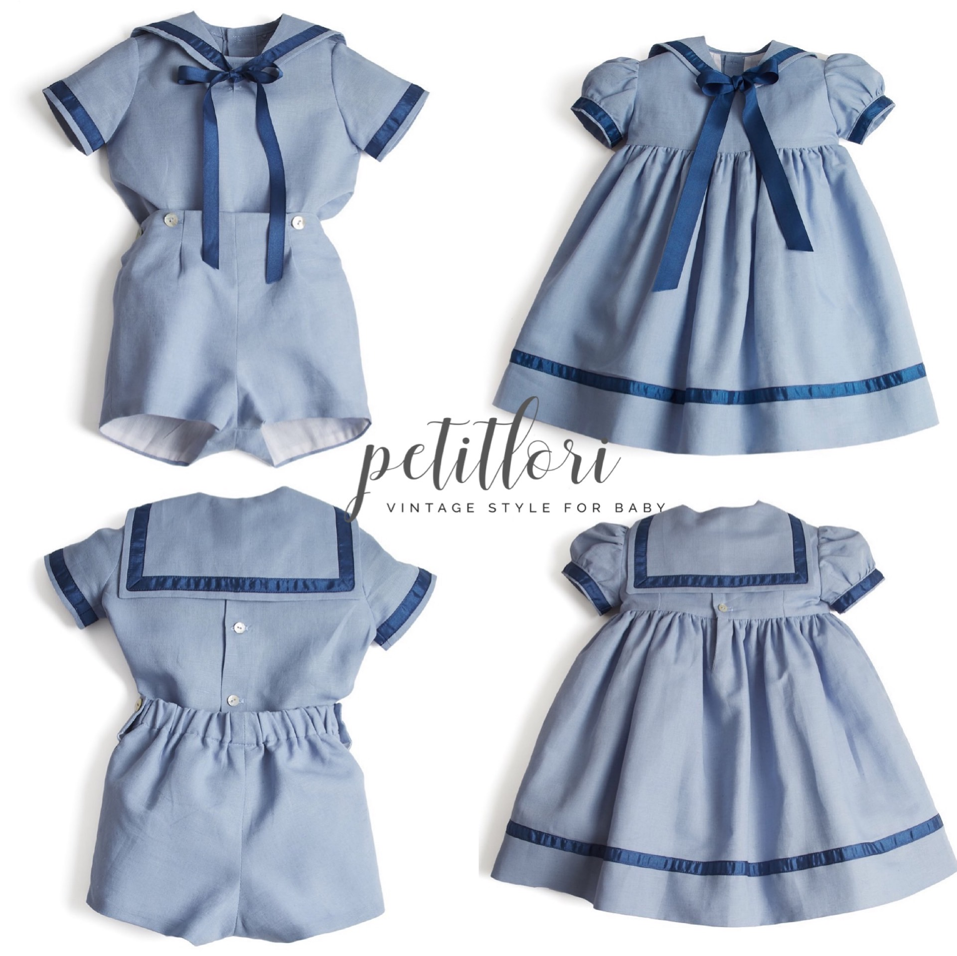 Petitloris self-made Spanish British Navy brother and sister shorts dress childrens suit