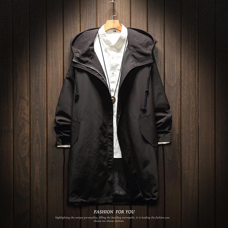 冬季新款休闲长款风衣外套男士加肥大码胖子宽松大衣韩版潮流男装