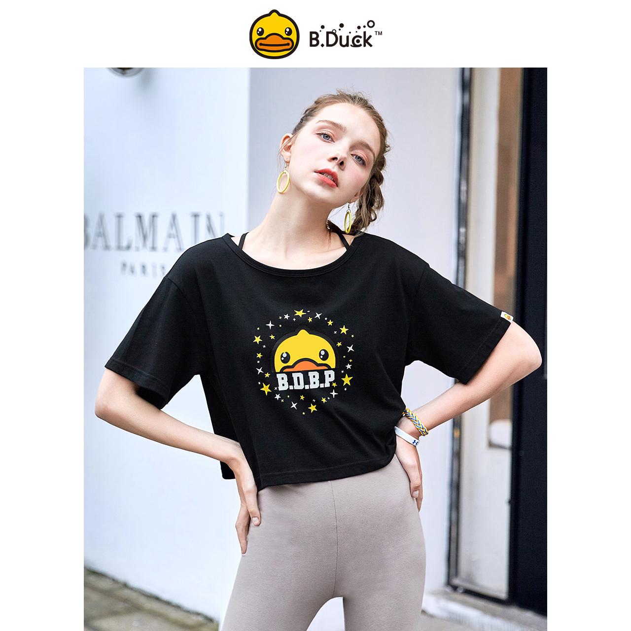 B.Duck小黄鸭2019夏季新品运动风潮酷女款短袖T恤
