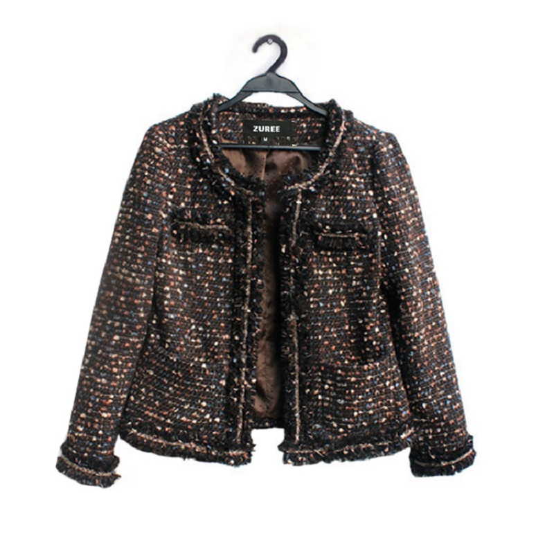 Luxurious hand-made tassel tweed with all kinds of body building temperament celebrity small fragrance coat autumn winter jacket woman