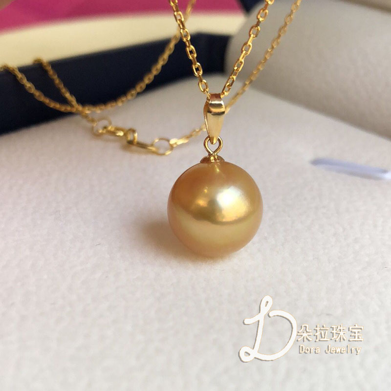 18K gold inlaid with natural sea water Nanyang gold pearl medium thick gold pearl Pendant Gift simple Pearl Pendant Necklace