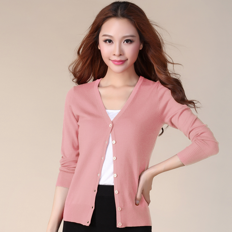 Early spring and autumn new large womens T-shirt womens cardigan long sleeve short style with a versatile Cape sweater coat