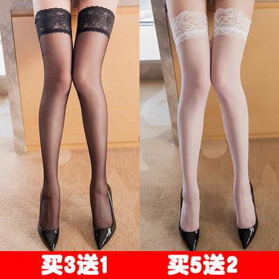 蕾丝硅胶防滑长筒丝袜女超薄情趣性感高筒过膝大腿半截袜子黑肉色