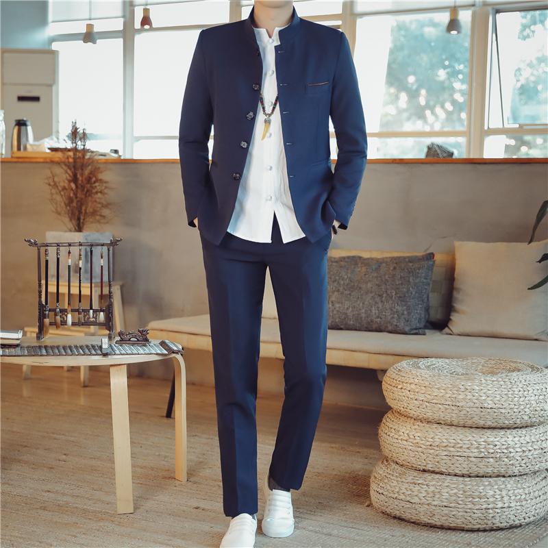 秋季v2 中山装西服套装男士西装两件套纯色中国风外套TZ107-P150