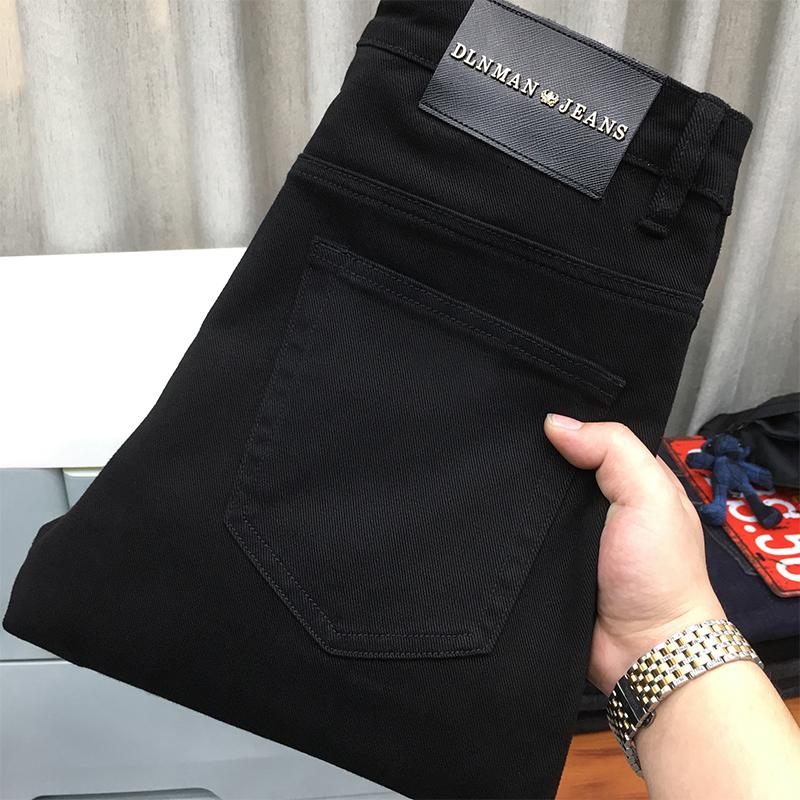 黑色直筒裤宽松牛仔裤男秋冬厚款百搭潮流大码纯黑色商务休闲长裤