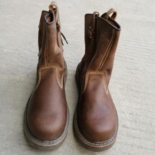 特价清仓夏季牛皮工装靴真皮男靴潮皮靴筒靴透气马丁靴防水女马靴品牌