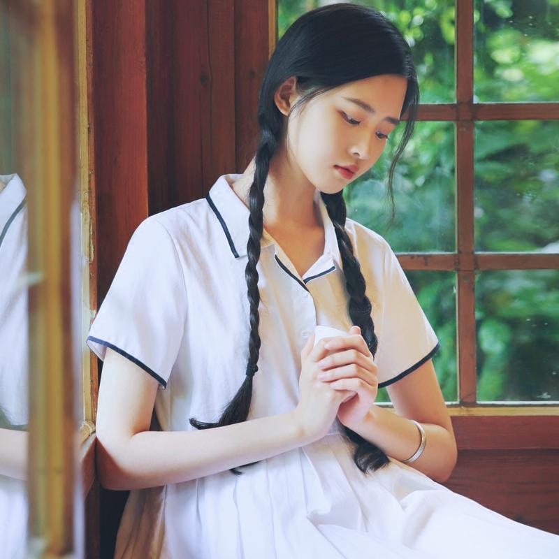 尺渡/浅草/文艺莫代尔显瘦连衣裙夏季学院风收腰超仙少女心温柔裙