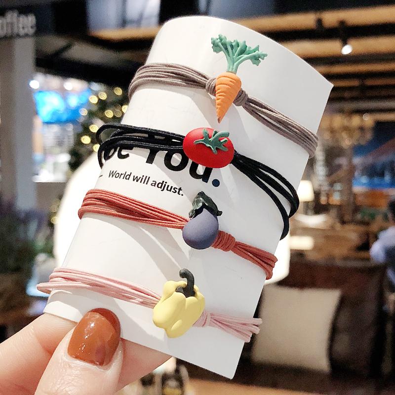 春夏韩版可爱少女心蔬菜女童发圈满2.80元可用1元优惠券