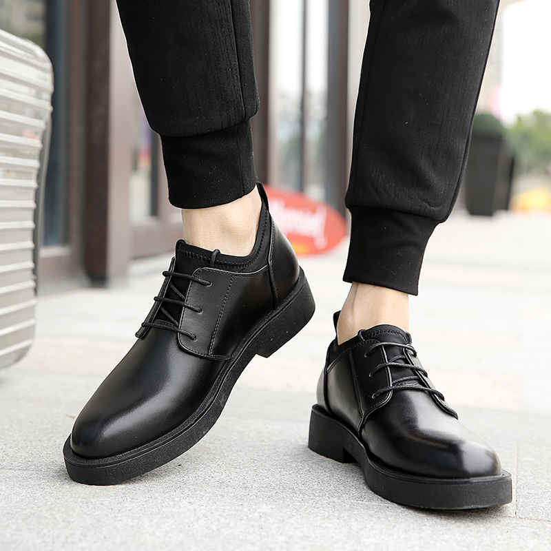 Spring and autumn mens casual shoes mens 2019 Korean youth lace up British business mens shoes inner height wedding shoes fashion shoes