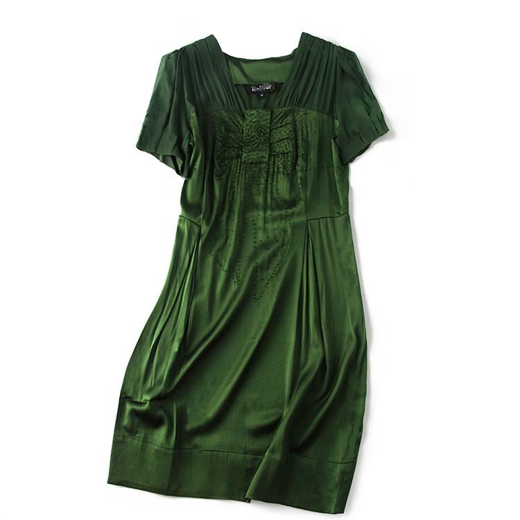 中老年服饰 正宗杭州丝绸桑蚕丝真丝缎面短袖连衣裙2020新品夏装