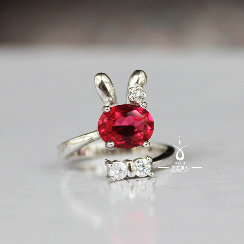 Rabbit 925 pure silver corundum ring for women