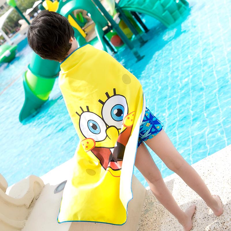 海绵宝宝速干毛巾 游泳运动成人可爱儿童擦头发吸水柔软浴巾浴袍