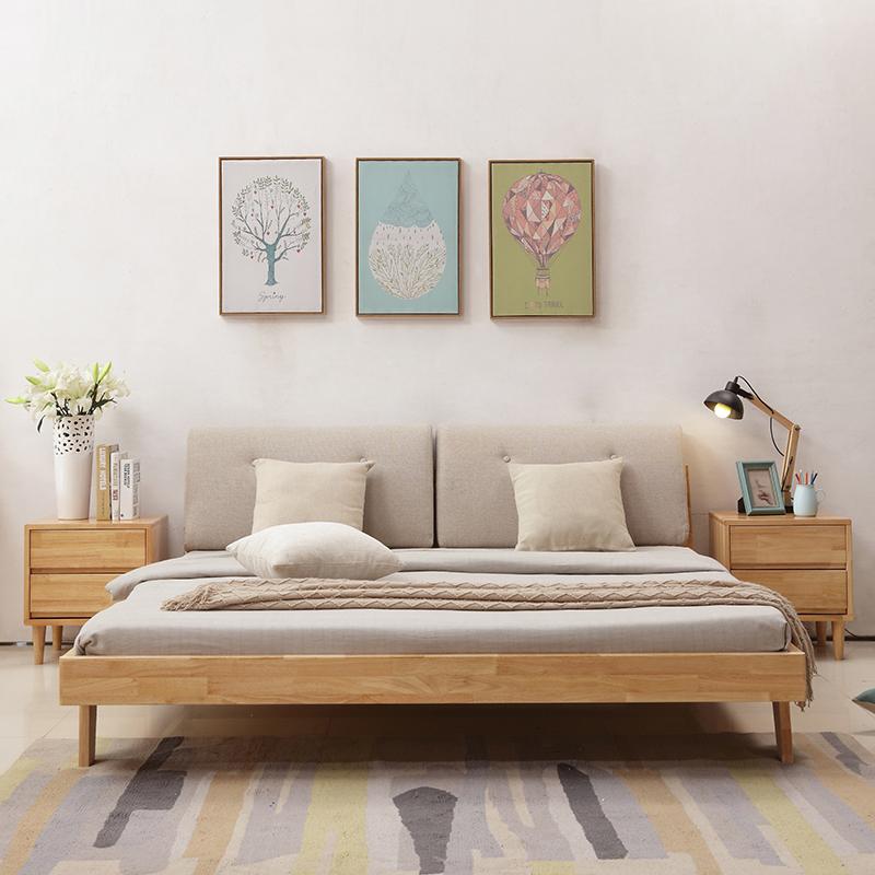 简易北欧实木床简约现代经济型1.5/1.8米主卧家具双人软靠原木色